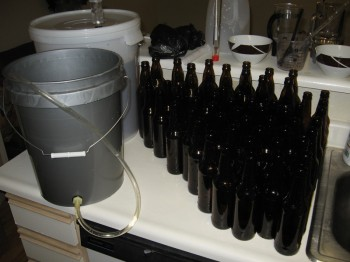 bottles sanitized and ready for filling